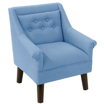 Best Bella Kids Accent Chair French Blue Linen Upholstered 400 x 300