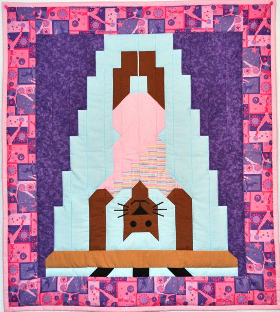 Little Girls Gymnastic Quilt Pattern   Instant by CountedQuilts, $9.00