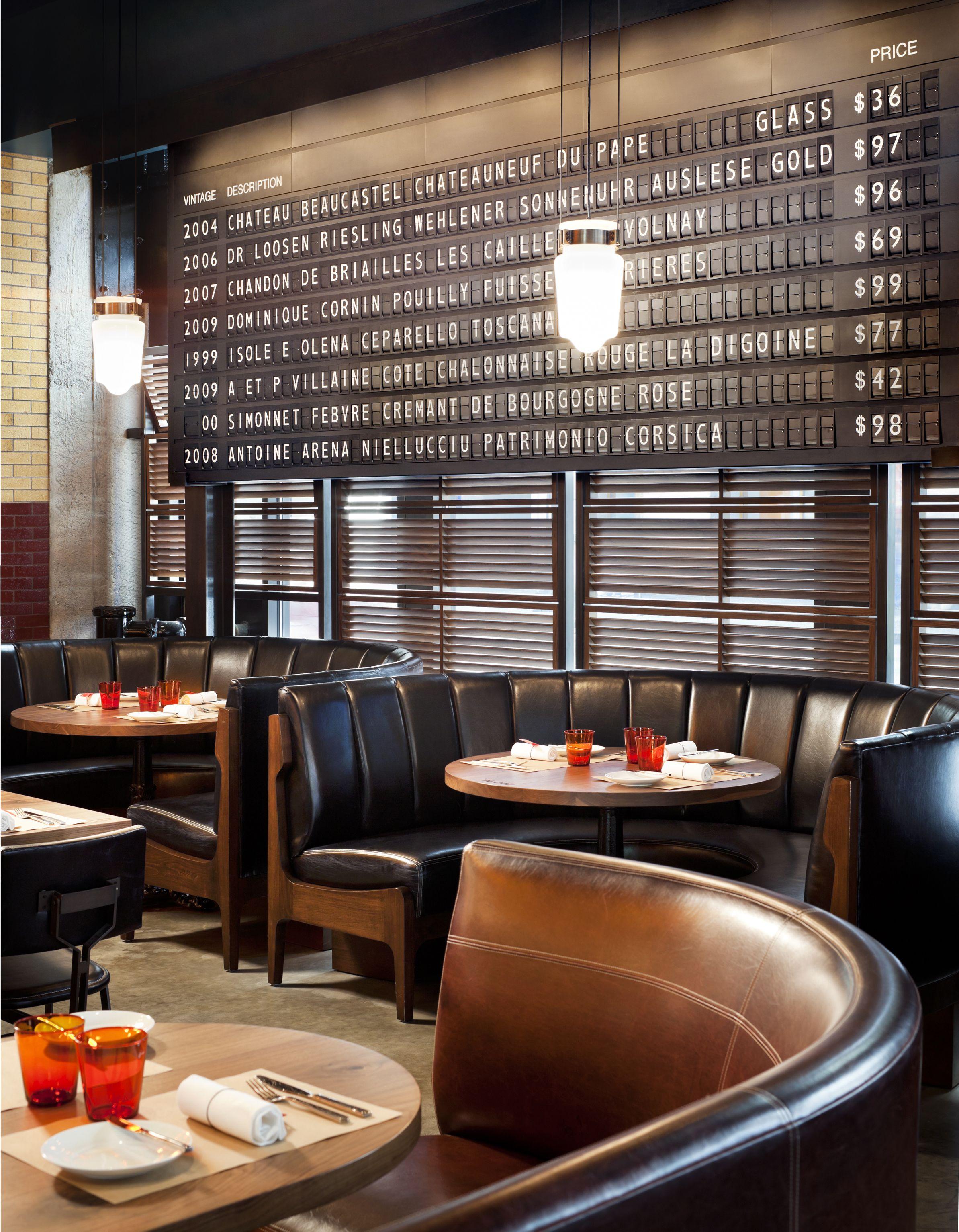 Restaurant interior design banquette bar pinterest