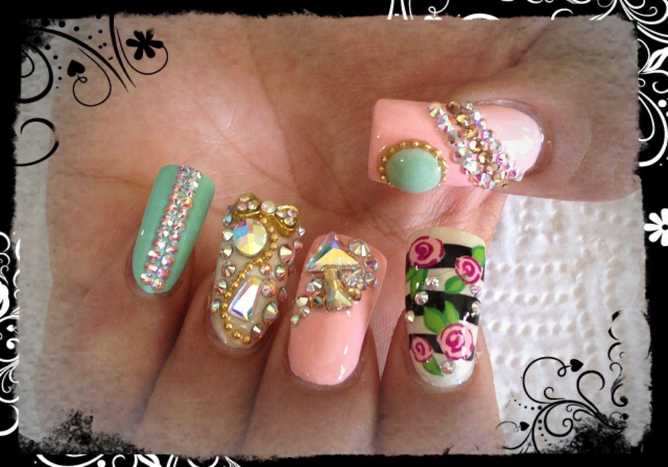 Uñas Liz Coral, menta y Flores | Blin blin | Pinterest | Menta ...
