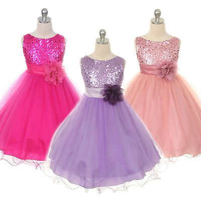287c50eacc66 Kids Girl Baby Princess Flower Sequin Party Prom Wedding Communion ...
