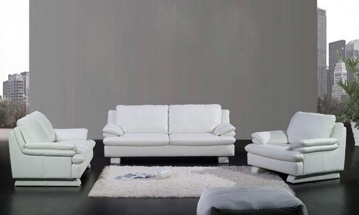 Free Shipping Modern Design 1 2 3 Classic White Sofa Set Cattle Leather Solid Wood Frame Loves Leather Couches Living Room White Sofa Set White Leather Sofas