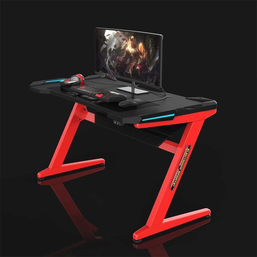 Kinsal Gaming Desk Computer Zshaped Desk Table With Fighting Led Ambience Lighting Racing Table Esports Durable Gaming Gaming Desk Desk Metal Furniture Design