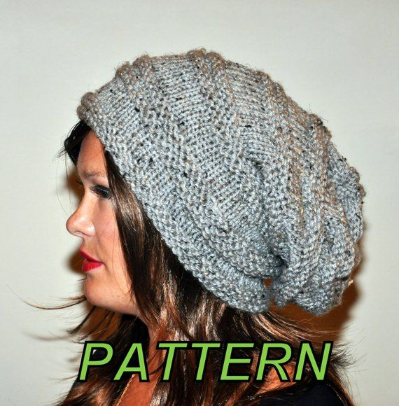 Slouch Beanie Slouchy Hat PDF PATTERN DIY Hand Knit Winter Adult Teen Gray  Marble Grey Nature Forest eb7b7a6f58b