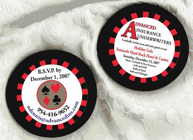 Poker Chip Party Invitation That Is Two Sided And Made With 1 4