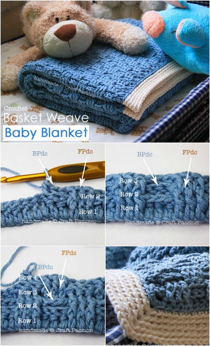 Basket Weave Baby Blanket - Free Crochet Pattern | Pinterest | Manta ...