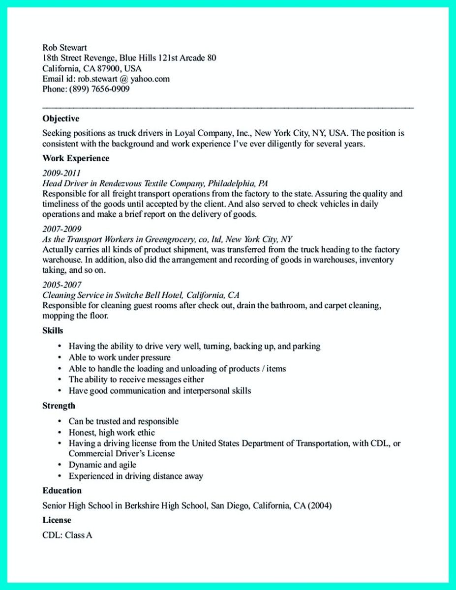 Truck Driver Resume Cool Simple But Serious Mistake In Making Cdl Driver Resume Check