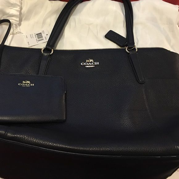 Coach Ava  2 tote bag with wristlet It's brand new with tags midnight blue color Coach Bags Totes