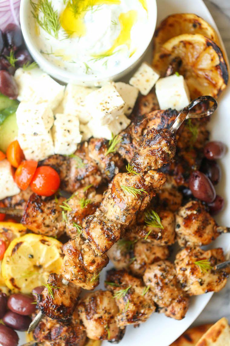 Greek Chicken Kabobs - Damn Delicious