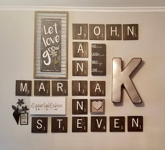 Large Scrabble Letters 5 5 Wood Scrabble Tiles Large Etsy Scrabble Tile Wall Art Tile Wall Art Scrabble Tiles Wall