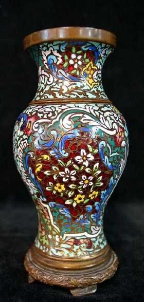 French Bronze And Champleve Vase Emaux Champlev Cloisonn