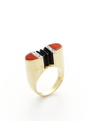 Tara Compton Ca. 1940's Deco Coral, Black Onyx, & Diamond Geometric Ring