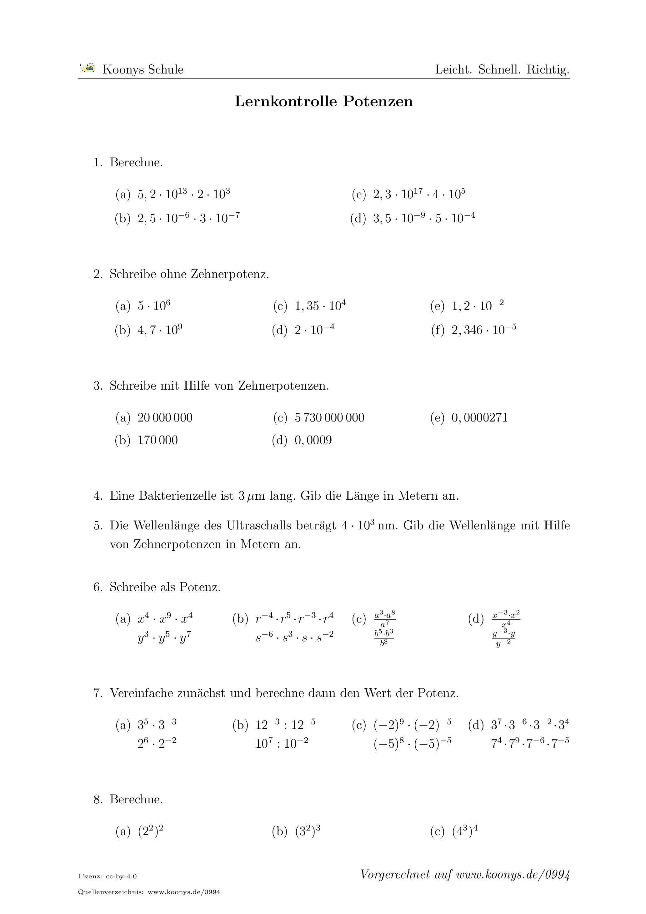 Lernkontrolle Potenzen | Arbeitsblatt #0994 | Mathe | Pinterest ...
