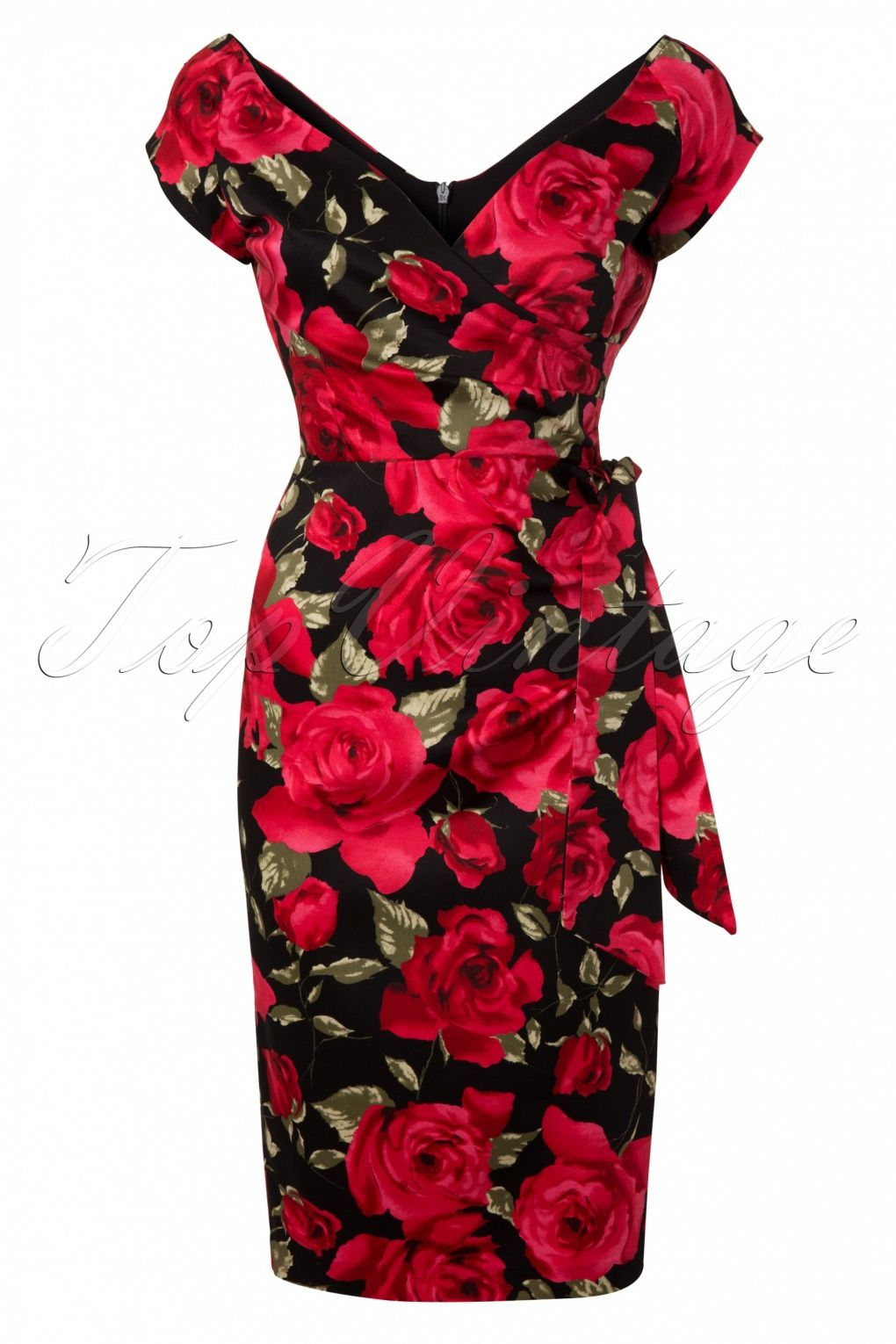 So Couture - Hourglass Sorento Black Floral Vintage Pencil dress #topvintage