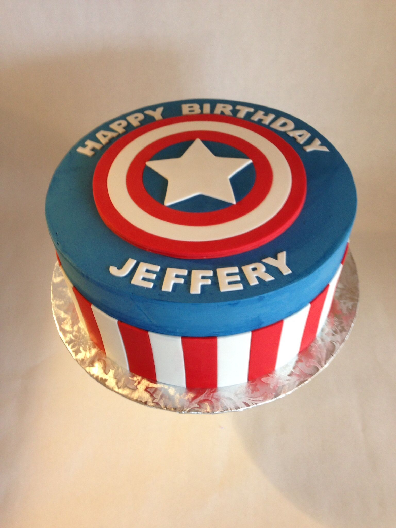 Wondrous Captain America Cake Birthday Cake Fondant Captain America Funny Birthday Cards Online Alyptdamsfinfo
