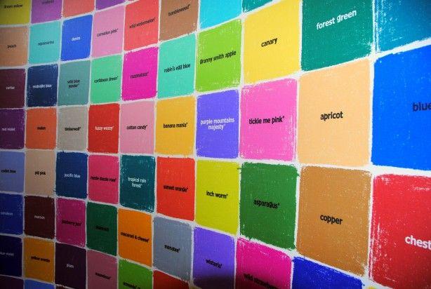 wall of crayon names at the crayola factory pa loveee pinterest