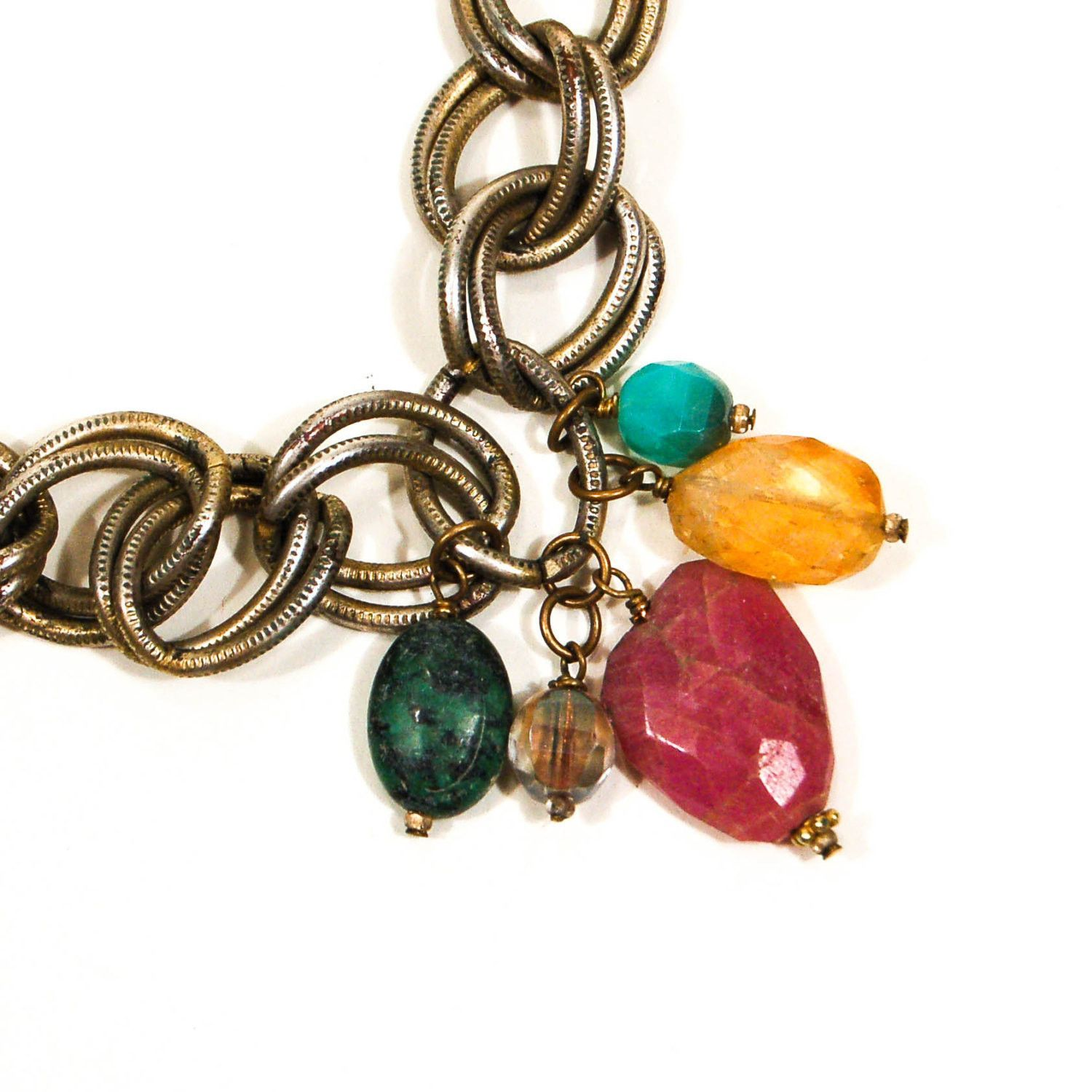 Chunky Charm Necklace with Semi Precious Stones by Rachel Reinhardt