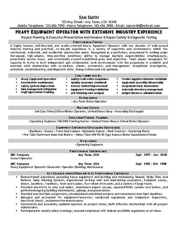 Equipment Operator Resume Example Resume Examples Pinterest