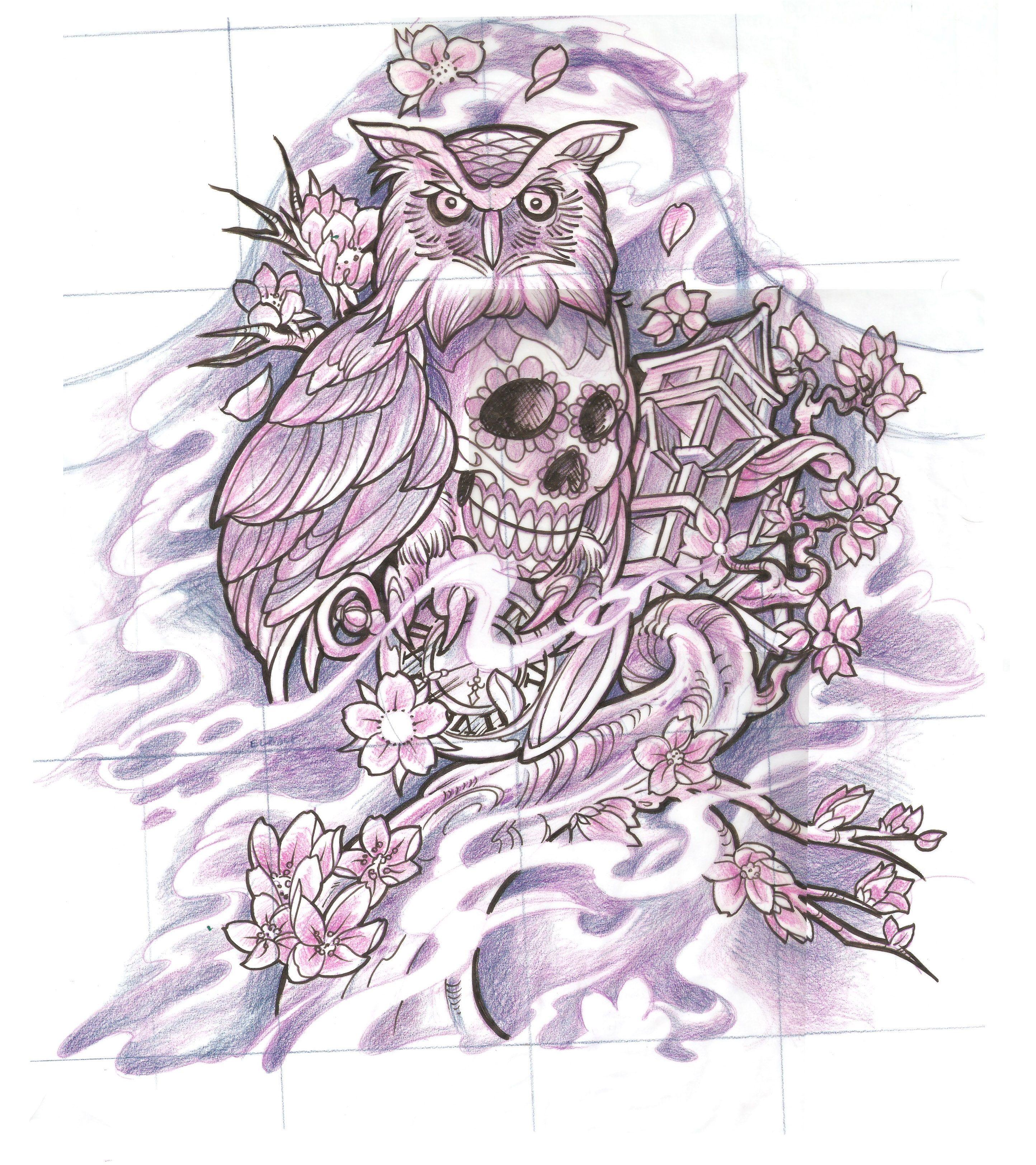 sugar skull owl sketch | Tattoos | Pinterest | Sugar skull ... - photo#31