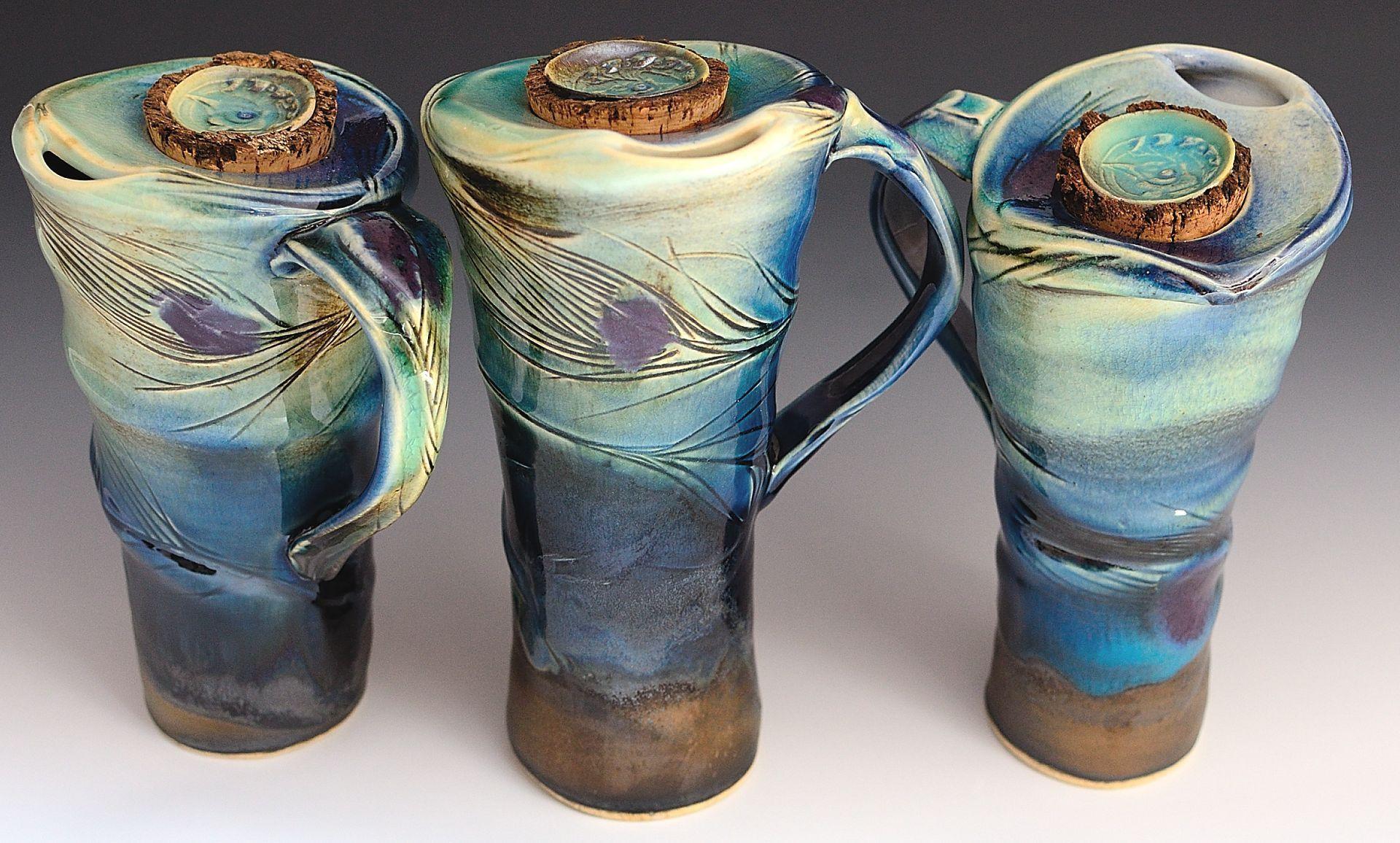 Handled Travel Mugs-Peacock series  Catherine Rehbein