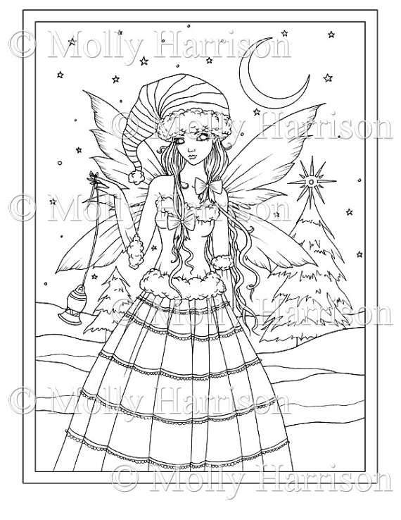 Christmas fairy printable instant download adult for Christmas fairy coloring pages