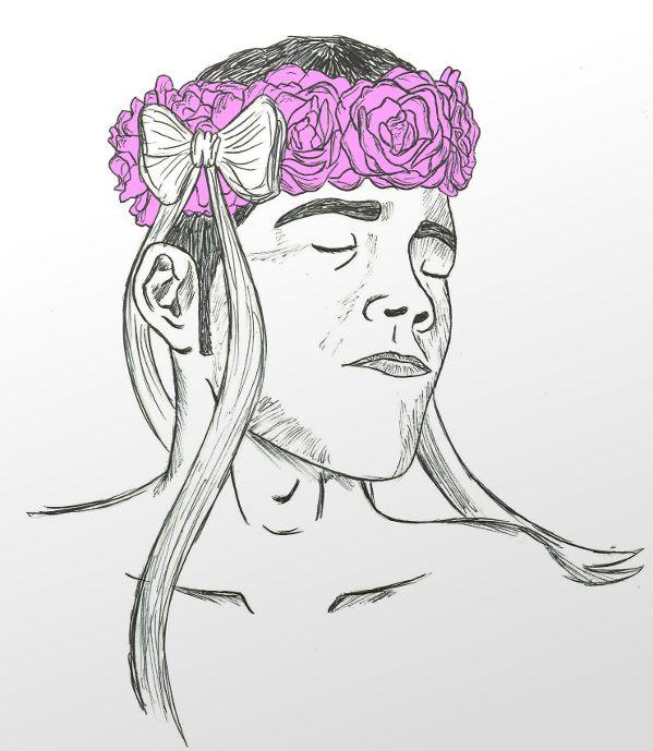 Auto-retrato con coroa de camelias