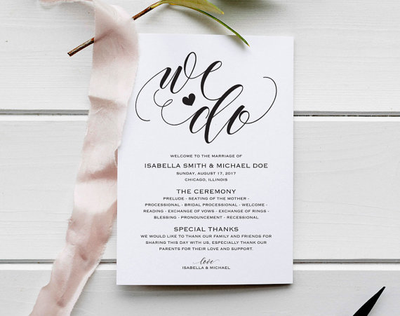 Wedding Program Template, Rustic Wedding Ceremony Program, Instant - how to design wedding program template