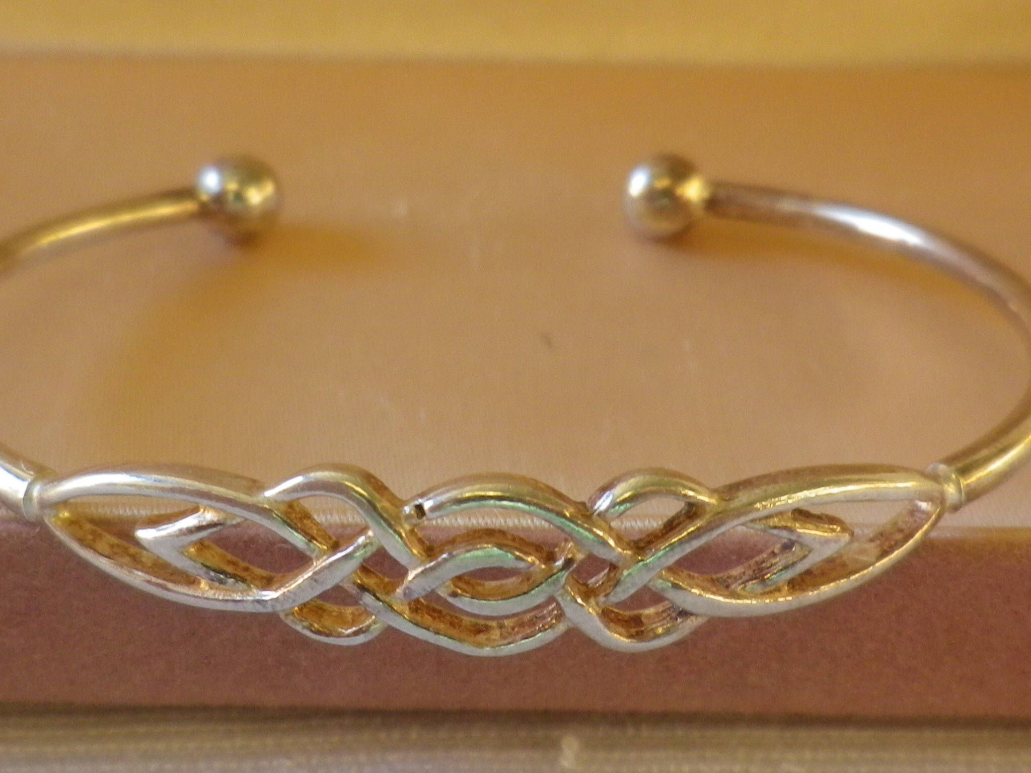 Vintage italy sterling silver celtic cuff bangle unisex by