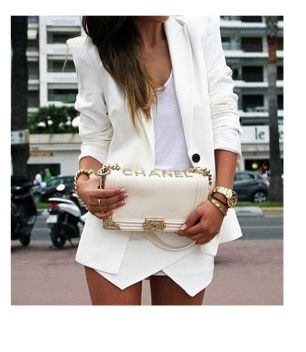 White Asymmetrical Geometric Pockets Shorts -SheIn(Sheinside)