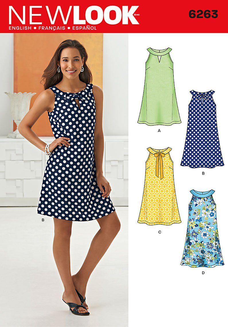 New Look 6263 Misses\' A- Line Dress | Pinterest | Nähen, Kleider ...