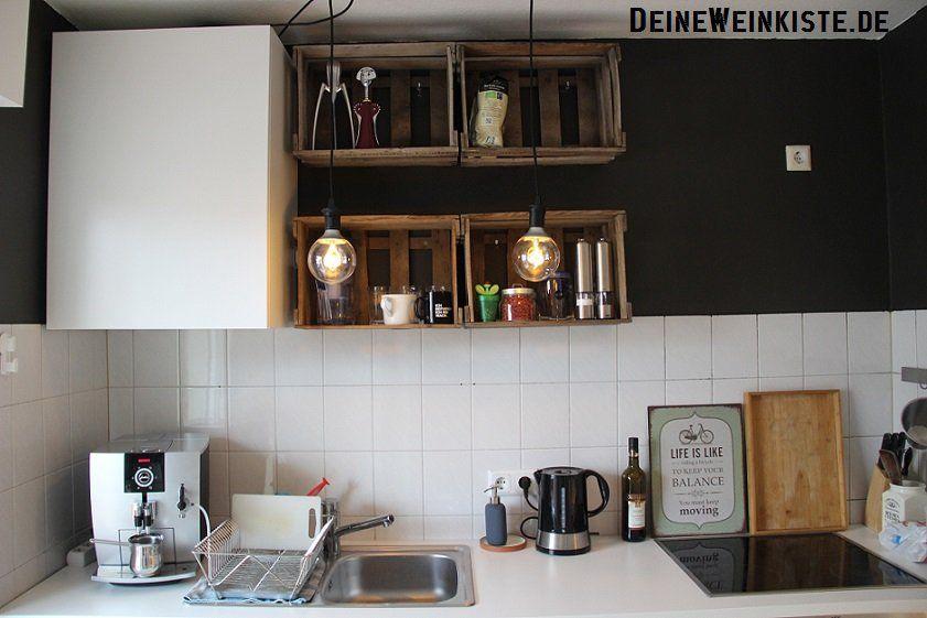 Vier Weinkisten (mit Anti-Holzwurm-Wärmebehandlung) in Küche als - küchen regale ikea