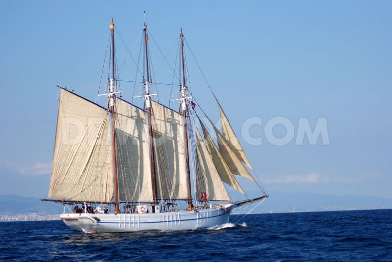 "Barcelona's ""Santa Eulalia"" is a three masted topsail Schooner 3 built in 1919 with a length of 41.27 m"