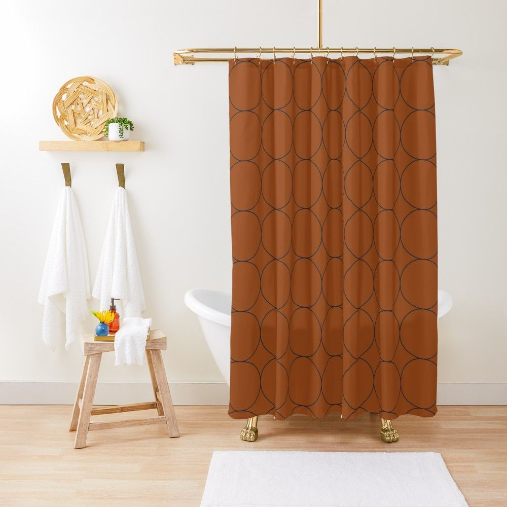 Navy And Rust Circles V Shower Curtain By Blertadk Curtains