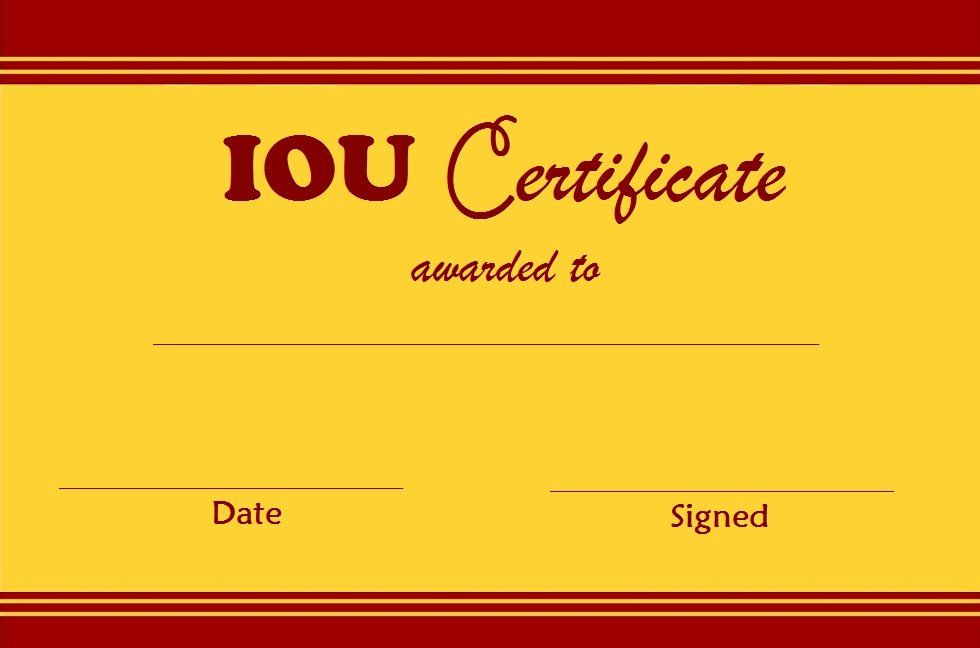 I Owe You Gift Certificate Unique Select And Print Iou Certificates And Cards Fresh Designs Printable Chart Templates Template Printable