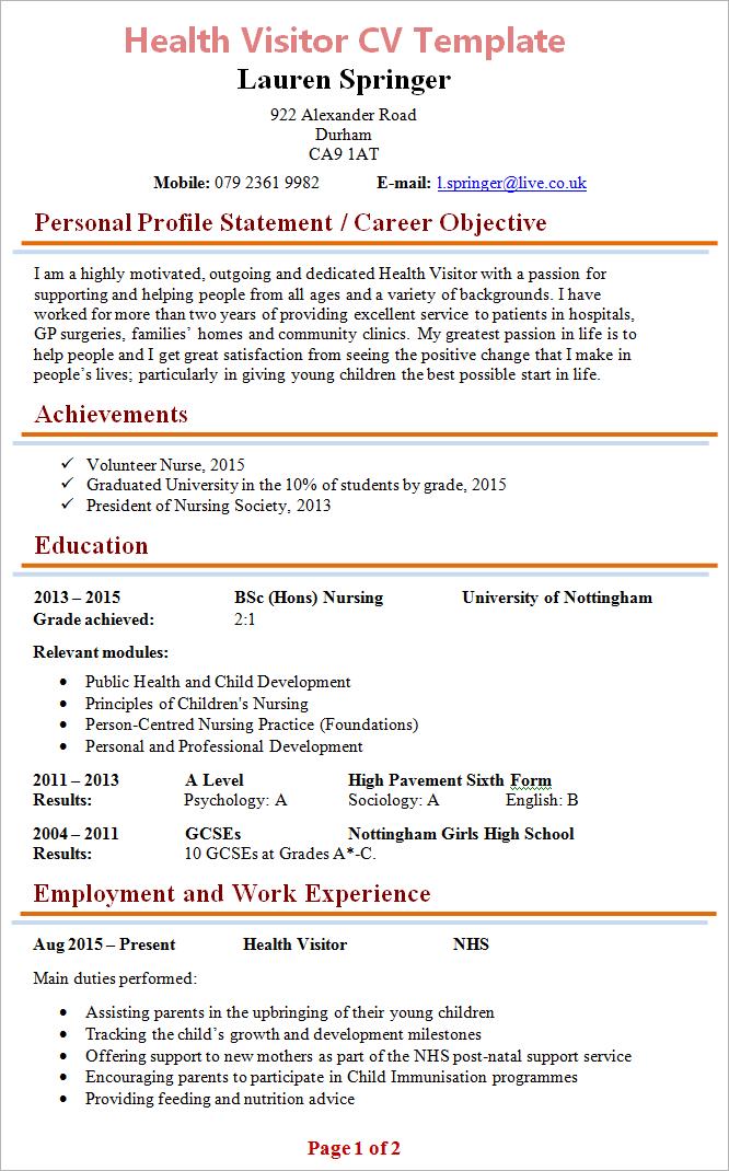 Cv Template Nhs Cvtemplate Template Good Cv Cv Template Resume Format