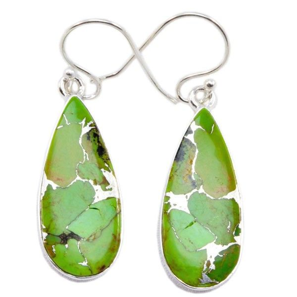 Green Copper Turquoise 925 Sterling Silver Earring Y-ER-10123 $18.99