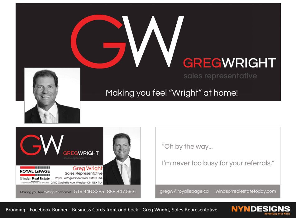 Facebook banner business cards front back greg wright sales real estate facebook banner business cards front back greg wright sales representative royal reheart Gallery
