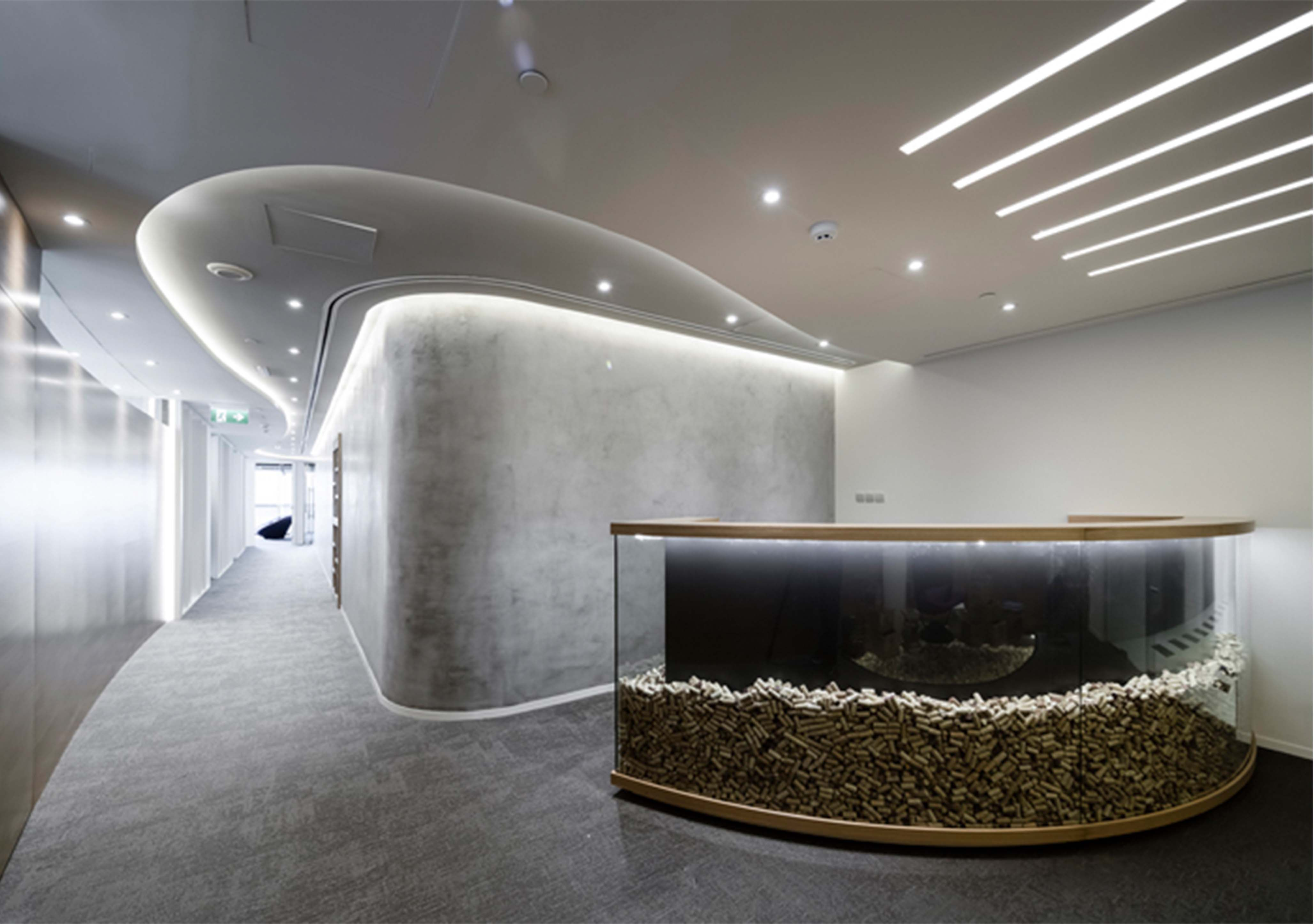 Design Bureau Llc Modern Office Reception Rethink Dubai Design By Swiss
