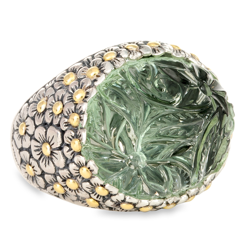 Carved Green Amethyst Sterling Silver Ring with 18K Gold Accents | Cirque Jewels
