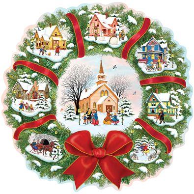 Christmas Village Wreath 300 Large Piece Jigsaw Puzzles Christmas