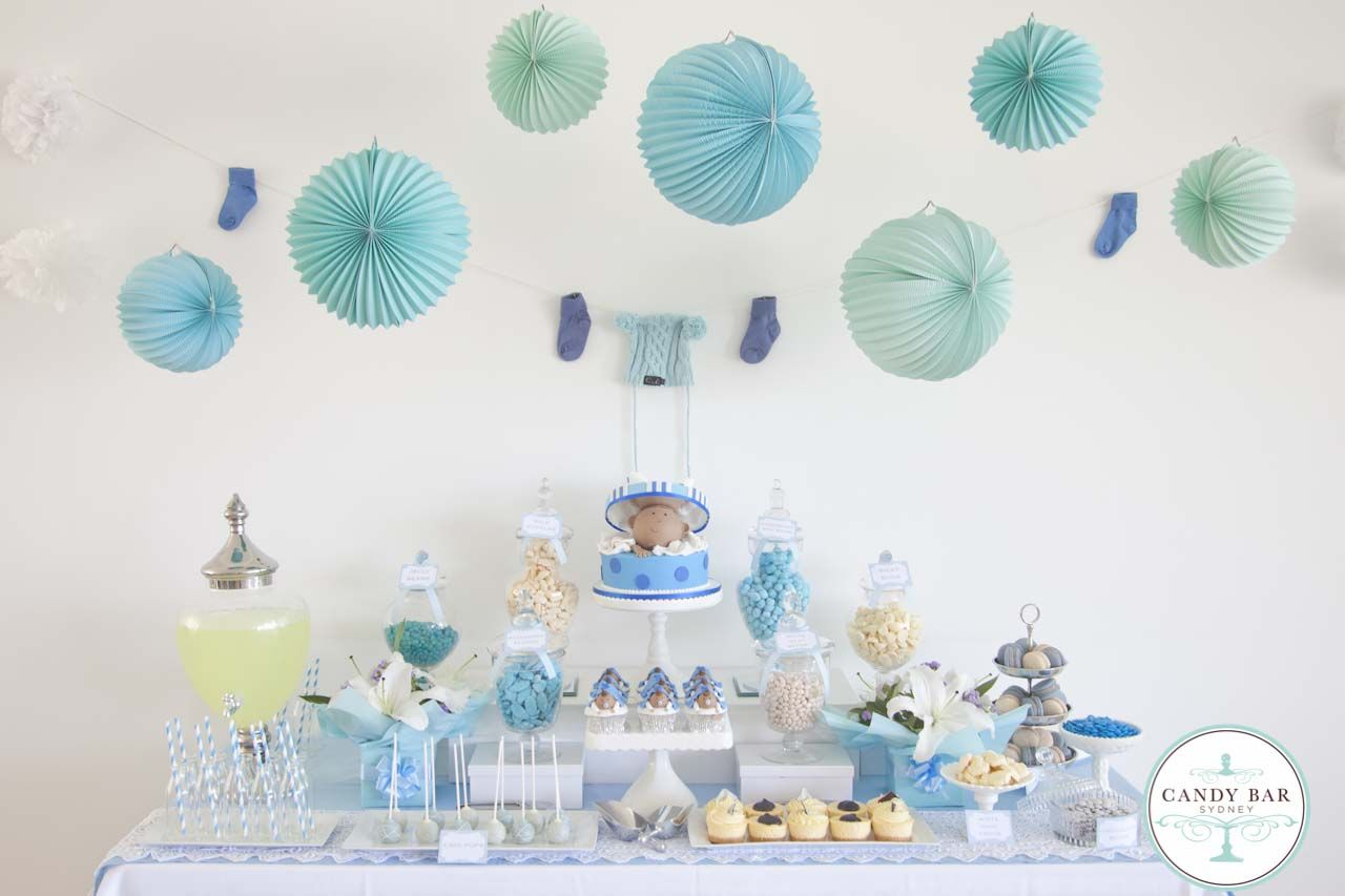 Blue Baby Shower Candy Buffet