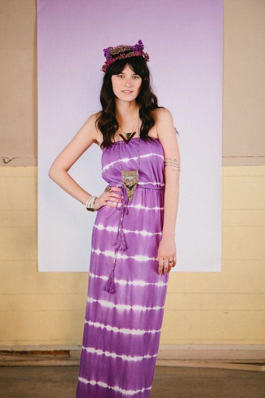 Purple Tie Dye Maxi Tube Dress