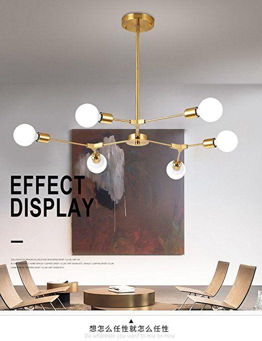 DIDIDD Nordischen Stil Glasschirm Eisen Lampe Körper Postmodern  Kronleuchter Wohnzimmer Restaurant Schwarz / Gold 3/