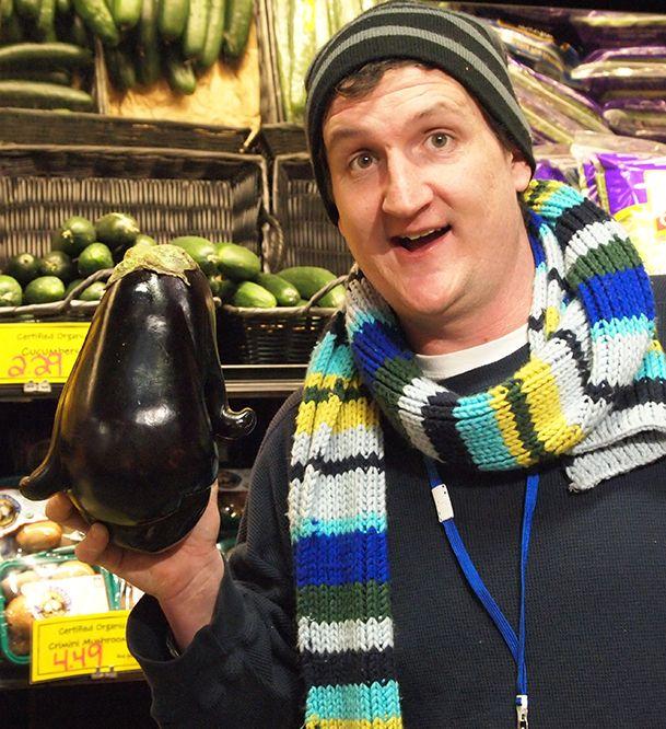 Garrett and his strange new eggplant friend