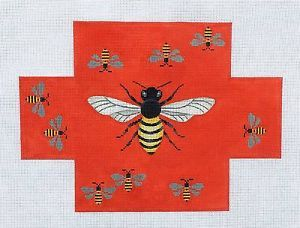 Bumble Bee on Chinese Red Brick Cover Handpainted Needlepoint Canvas ...