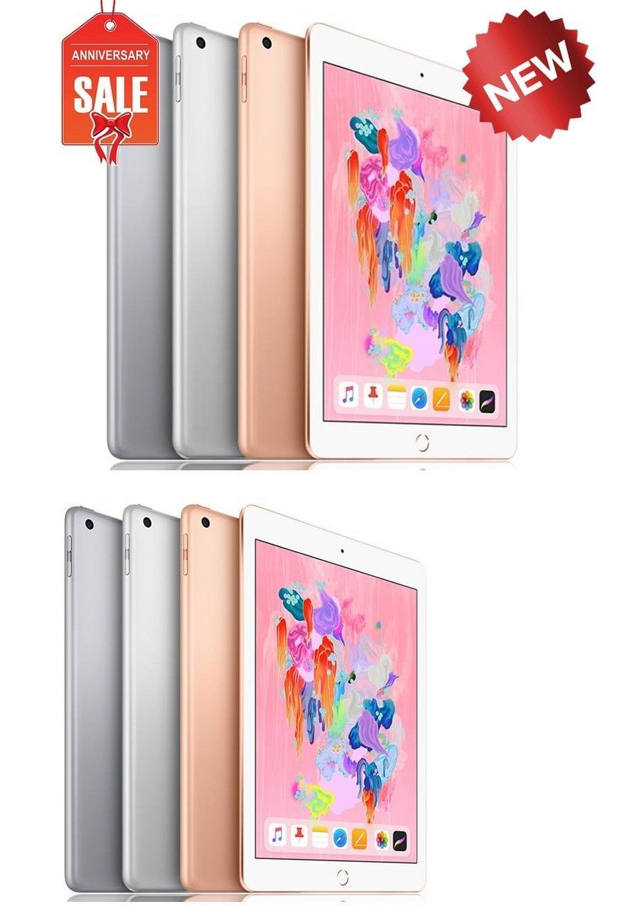 New Apple Ipad 6th 9 7 2018 Wifi Or Unlocked 32gb 128gb Gray Silver Gold New Apple Ipad Ipad 6 Ipad