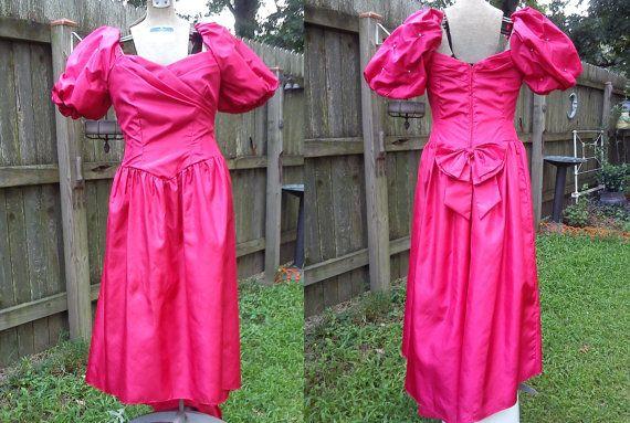 80s Prom Dress - 80s Bridesmaid Dress - Red Prom Dress - 80s Dress ...