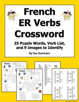 French ER Verbs Crossword Puzzle, Image IDs, and Verb Lists ...