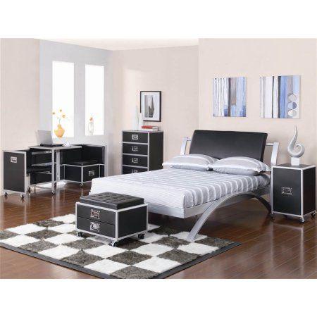 Leclair Full Metal Bed Black And Silver Walmart Com Platform Bedroom Sets Furniture Metal Platform Bed