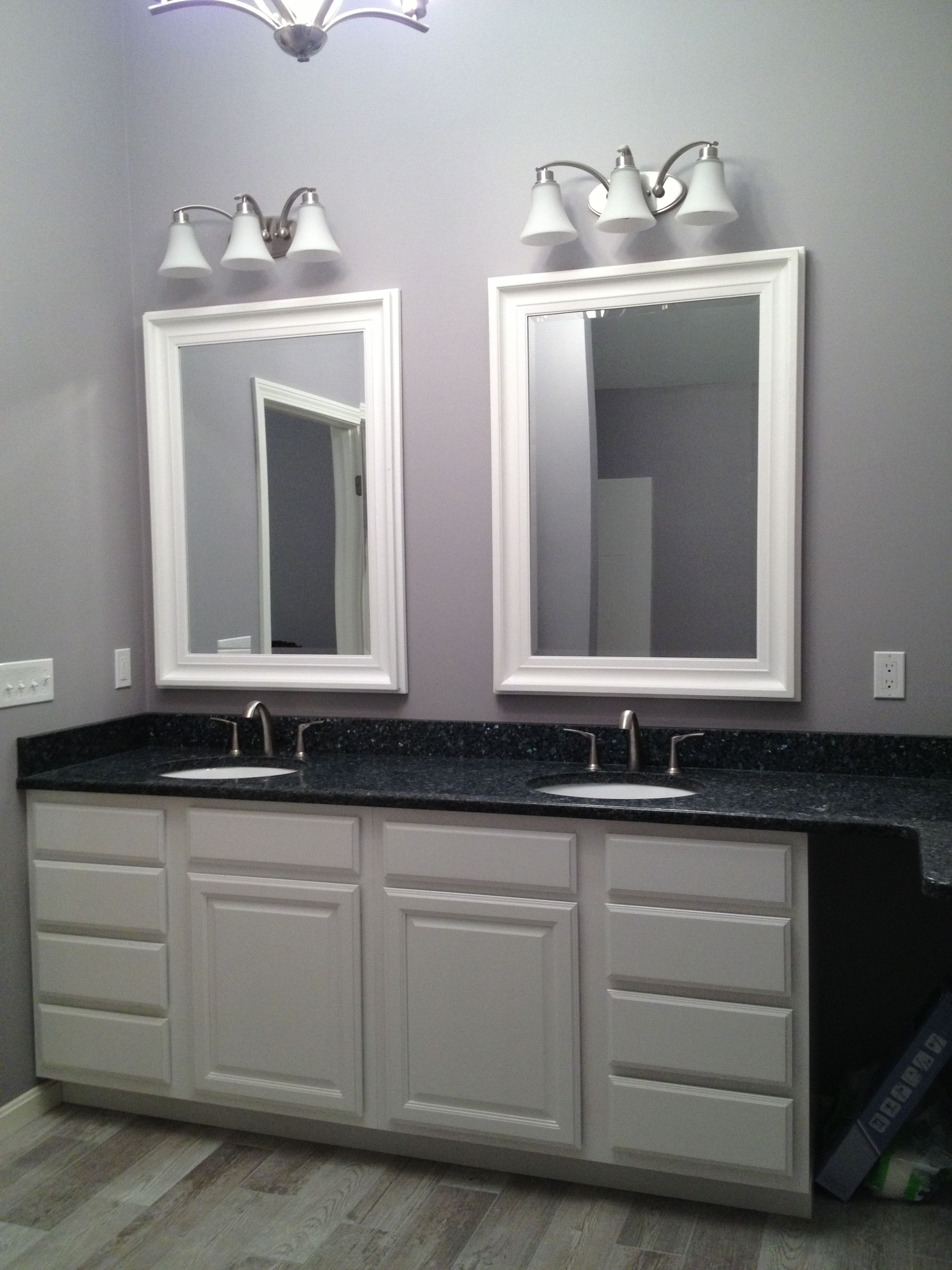 Master Bathroom Large 44 5 X 32 5 White Mirror Blue Pearl Granite Double Under Mount Sinks
